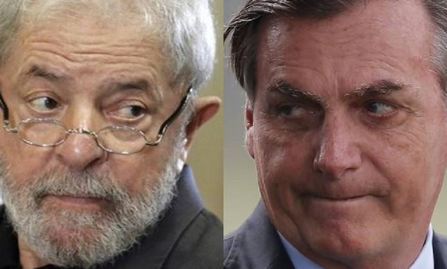 O ex-presidente Luiz Inácio Lula da Silva e o presidente Jair Bolsonaro