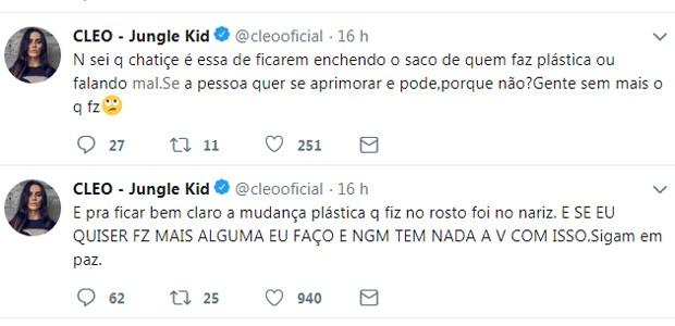 Cleo responde comentários no Twitter (Foto: Reprodução)