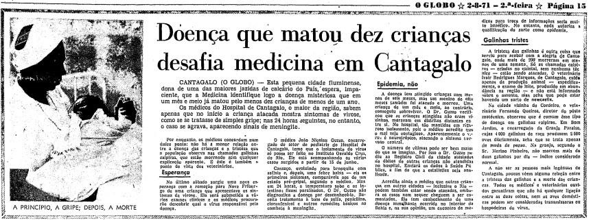 Página do GLOBO de 2 de agosto de 1971