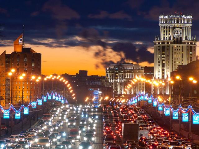 O trânsito caótico na capital russa