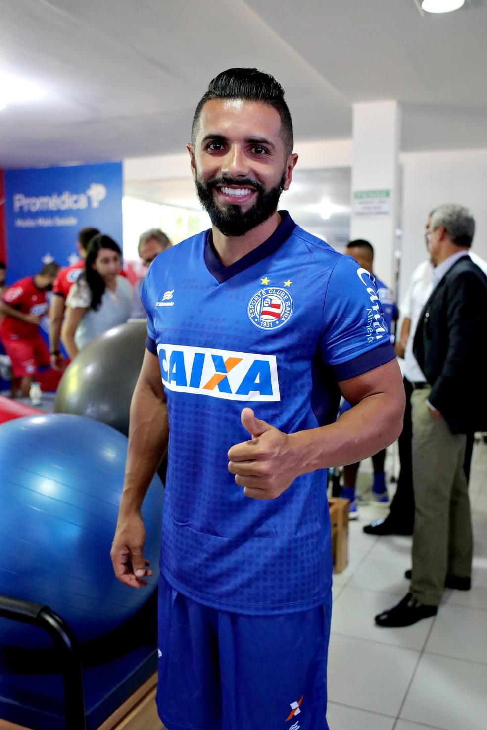 Guilherme já faz pré-temporada com o elenco tricolor — Foto: Felipe Oliveira / EC Bahia / Divulgação