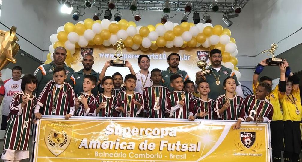 Em julho deste ano, o Fluminense foi campeão da Supercopa América de Futsal nas categorias Sub-7 e Sub-8 (Foto: Divulgação / Fluminense)