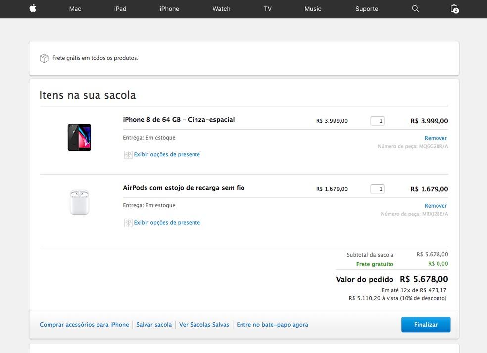 Mais caro, mesmo iPhone 8 não é vendido em kit com AirPods no site oficial da Apple — Foto: Reprodução/TechTudo