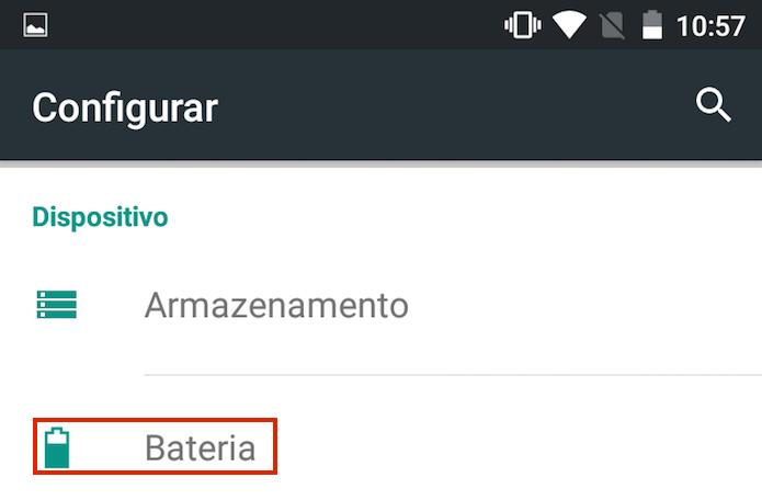 Acessando a opção Bateria nas configurações do Android (Foto: Reprodução/Edivaldo Brito)