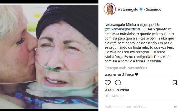 Ivete Sangalo faz homenagem a mãe de Xuxa (Foto: Reprodução)