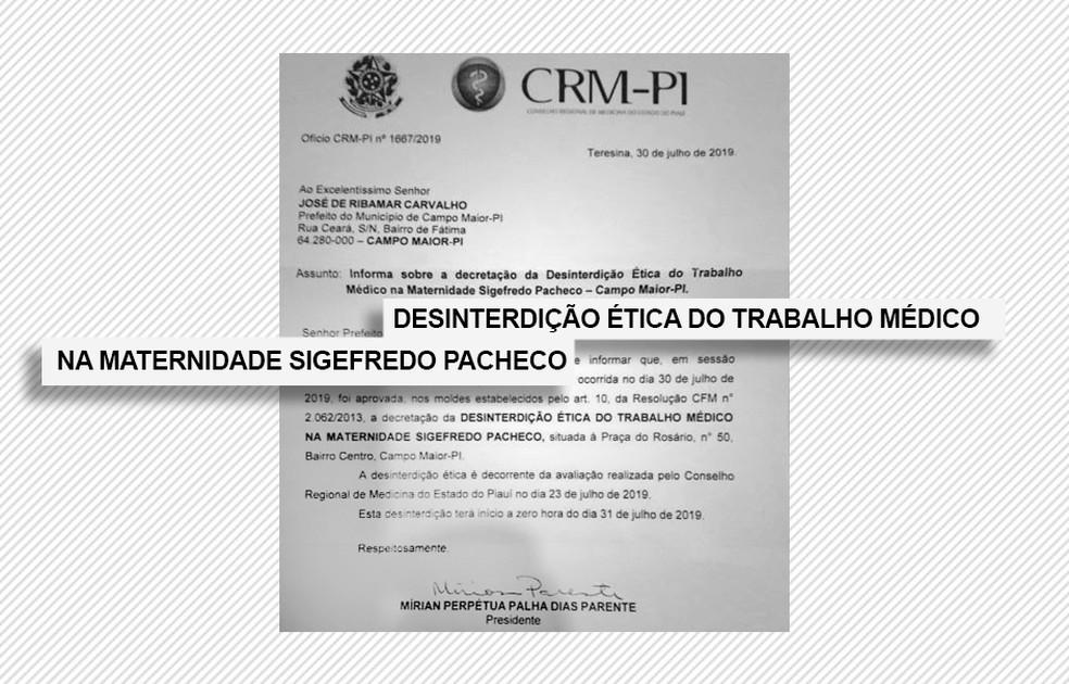 Desinterdição ética da Maternidade Sigefredo Pacheco, em Campo Maior — Foto: Reprodução/CRM-PI