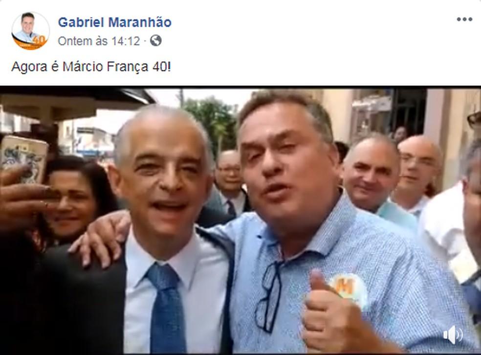 Prefeito de Rio Grande da Serra, Gabriel Maranhão, declara apoio a França — Foto: Reprodução/Facebook