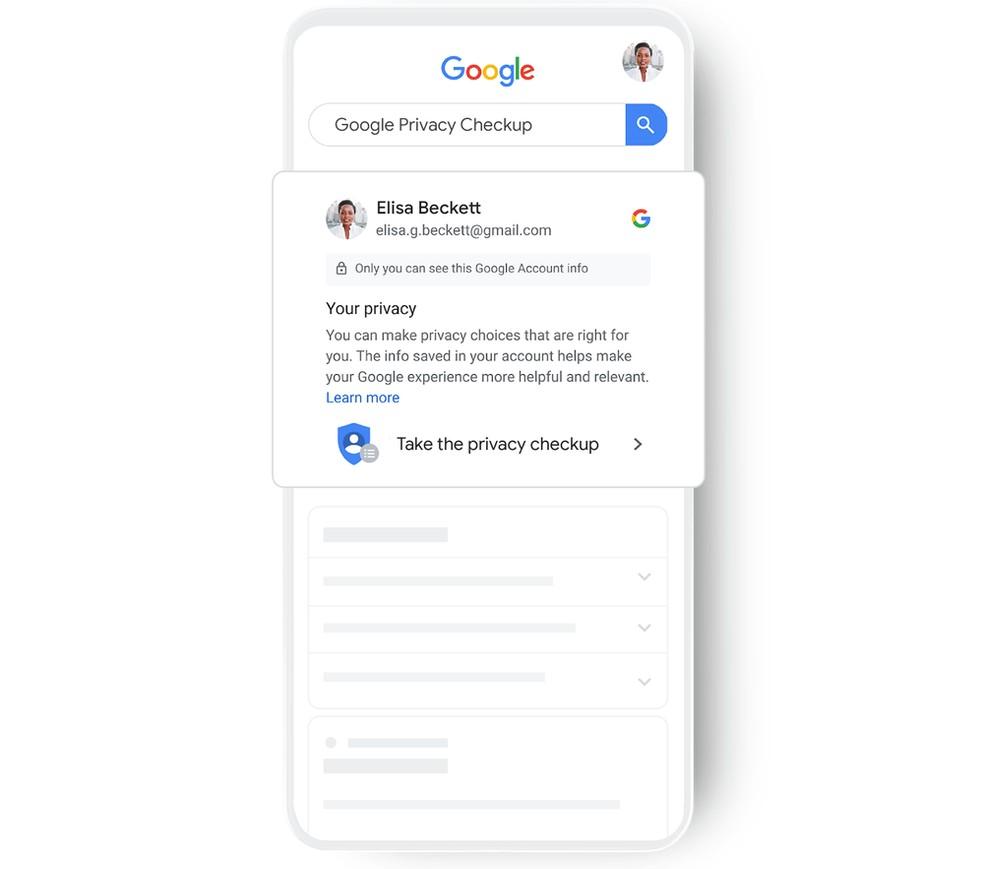 Buscador exibirá ajustes de privacidade de contas Google — Foto: Divulgação/Google