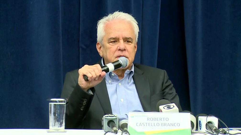 O presidente da Petrobras, Roberto Castello Branco, fala à imprensa sobre o reajuste do diesl â?? Foto: Reprodução/TV Globo