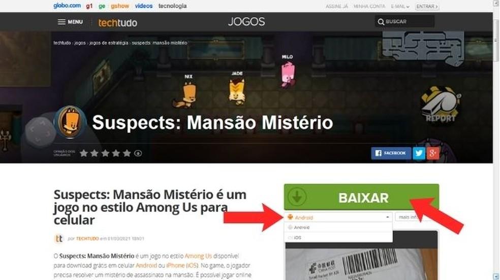 """Visite a página do Suspects: Mansão Mistério no TechTudo, escolha um sistema operacional e clique em """"Baixar"""" — Foto: Reprodução/Adânia Souza"""