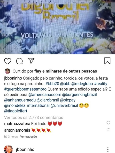 Boninho agradece ao público após a final do 'BBB' 20 (Foto: Reprodução Instagram)
