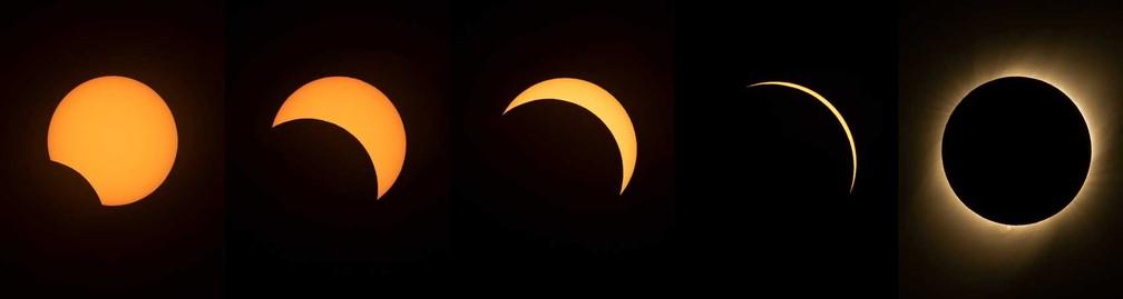 Eclipse solar visto do Observatório de La Silla, no Chile. — Foto: Martin Bernetti/AFP