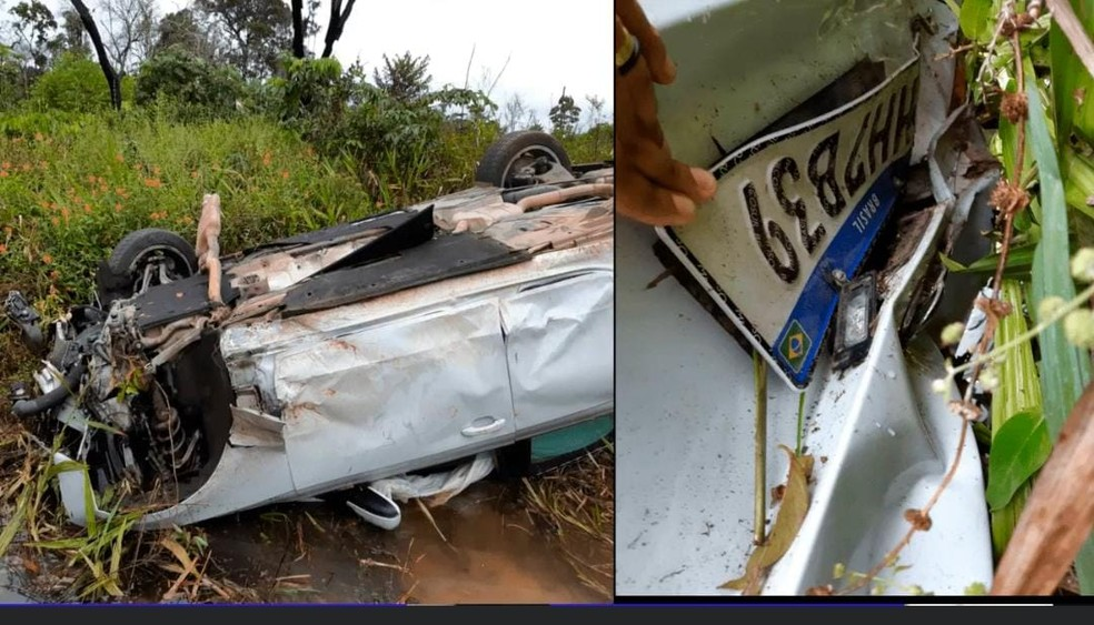 Carro do suspeito encontrado capotado. — Foto: Arquivo pessoal