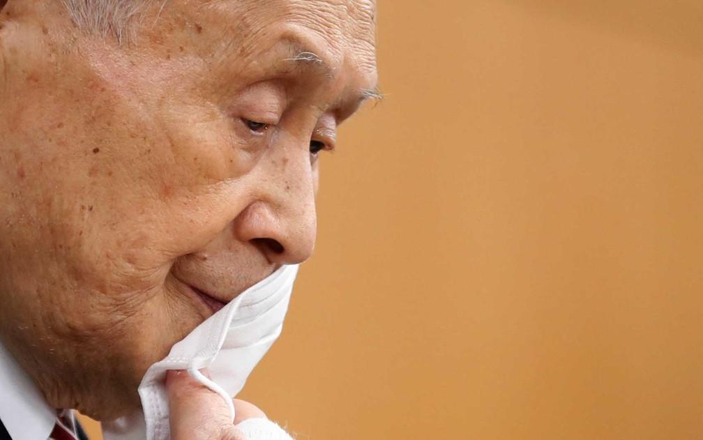 Yoshiro Mori, em foto de 4 de fevereiro — Foto: Kim Kyung-Hoon / POOL / via AFP Photo