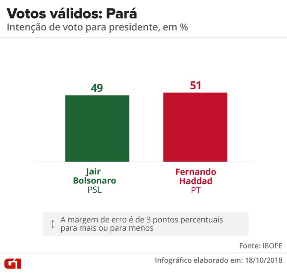 Pesquisa Ibope - 2º turno - Pará - votos válidos no estado — Foto: Arte/G1