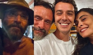 Almir Sater, Enrique Diaz, Gabriel Sauffer e Juliana Paes nos bastidores de 'Pantanal' | Reprodução