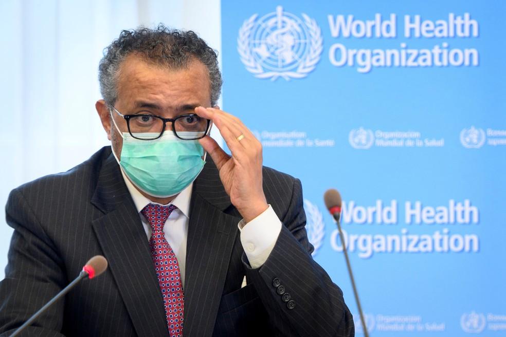 O diretor-geral da OMS, Tedros Adhanom Ghebreyesus, durante reunião em Genebra em 24 de maio — Foto: Laurent Gillieron/Pool via Reuters