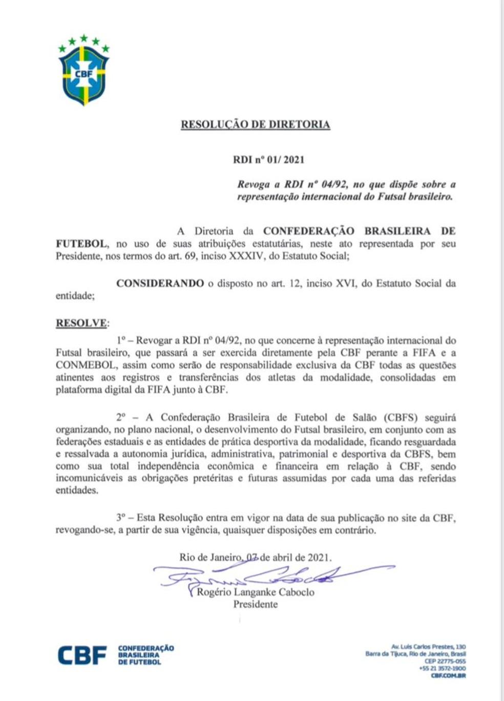 CBF assume a gestão da seleção brasileira de futsal — Foto: Reprodução