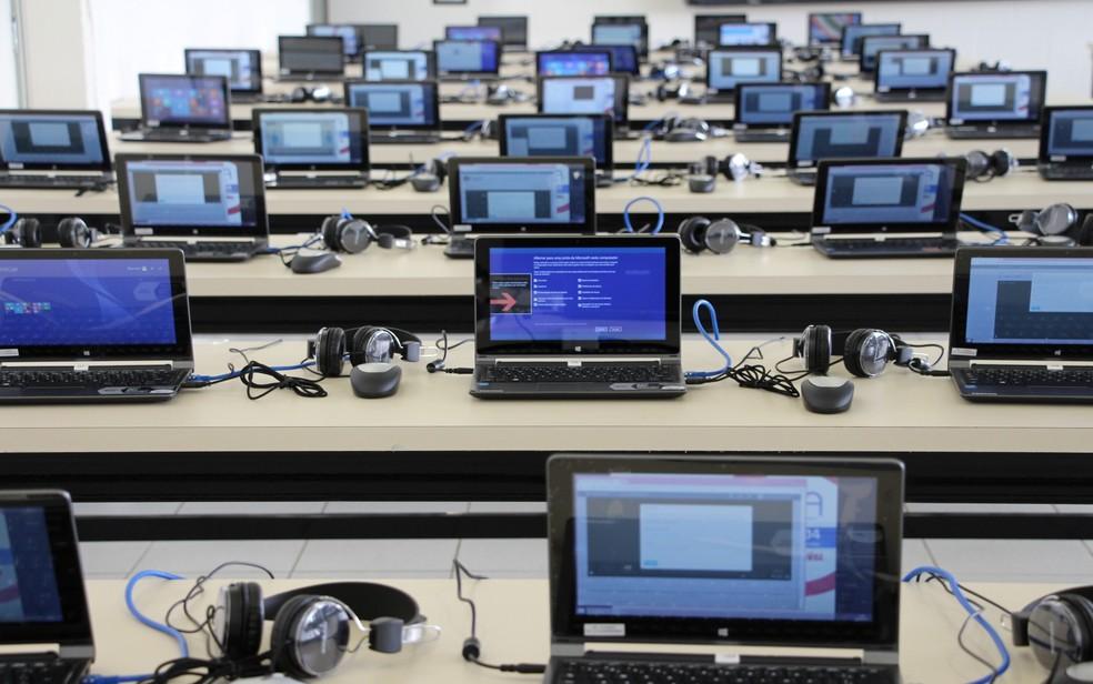 Enem digital: provas são aplicadas em computadores sem acesso à internet. — Foto: Milca de Oliveira
