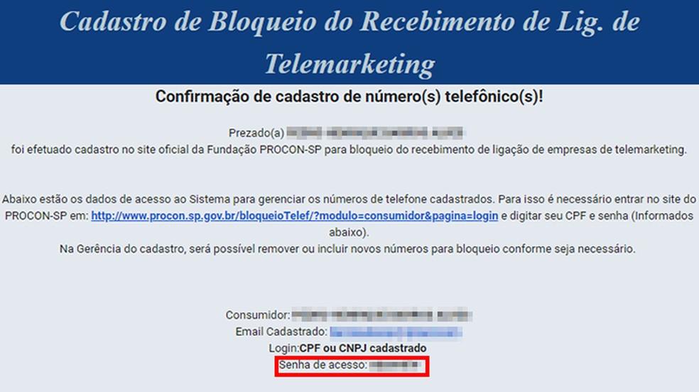 Procon-SP envia e-mail com senha de acesso ao painel do sistema — Foto: Reprodução/Paulo Alves