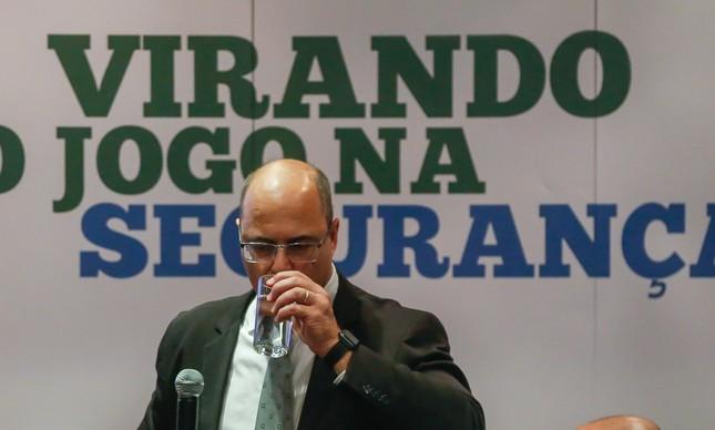 O governador Wilson Witzel em entrevista no Palácio Guanabara