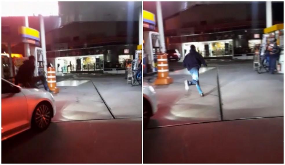 Homem é flagrado no capô de carro em movimento em avenida de Sorocaba (SP) — Foto: Arquivo Pessoal