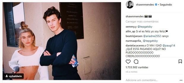 Shawn Mendes e Hailey Baldwin (Foto: Reprodução/Instagram)