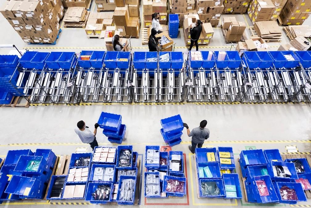 Novo centro de distribuição do grupo Dafiti, inaugurado em fevereiro em Extrema (MG).  — Foto: Divulgação/Dafiti Group
