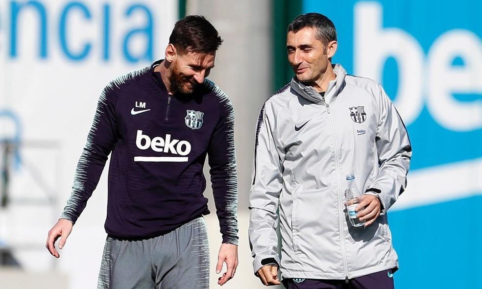 Messi e Valverde: camisa 10 era a favor da permanência do técnico — Foto: Miguel Ruiz/Barcelona
