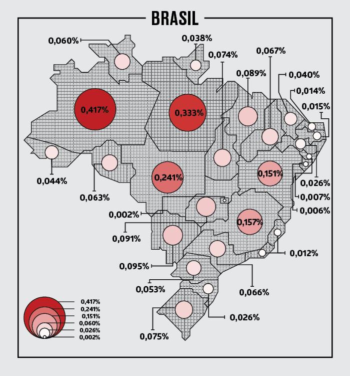 Mapa com as probabilidades da estação espacial atingir cada região do país (Foto: BRAMOM)