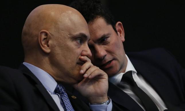 O ministro do STF Alexandre de Moraes e o ministro da Justiça, Sergio Moro