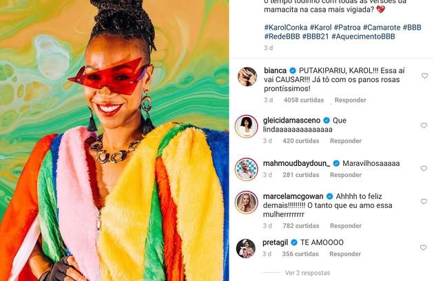 """Karol Conká tem na torcida as ex-""""BBB""""s Marcela, Boca Rosa e Gleice, além de Preta Gil e Adriane Galisteu (Foto: Reprodução)"""
