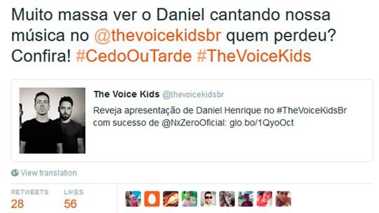 Daniel Henrique, do 'The Voice Kids', ganha elogio de NX Zero por versão de 'Cedo ou Tarde'