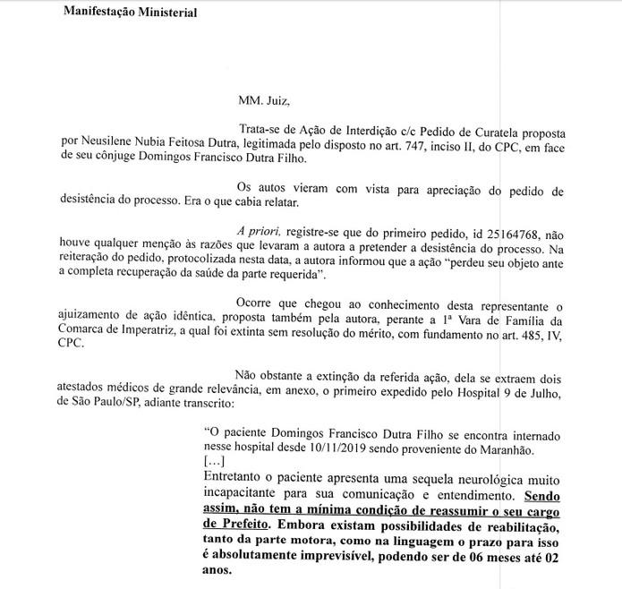 Parte 1: Pedido da promotora Raquel Castro para que Dutra passe por perícia médica antes de reassumir o cargo de prefeito — Foto: Divulgação