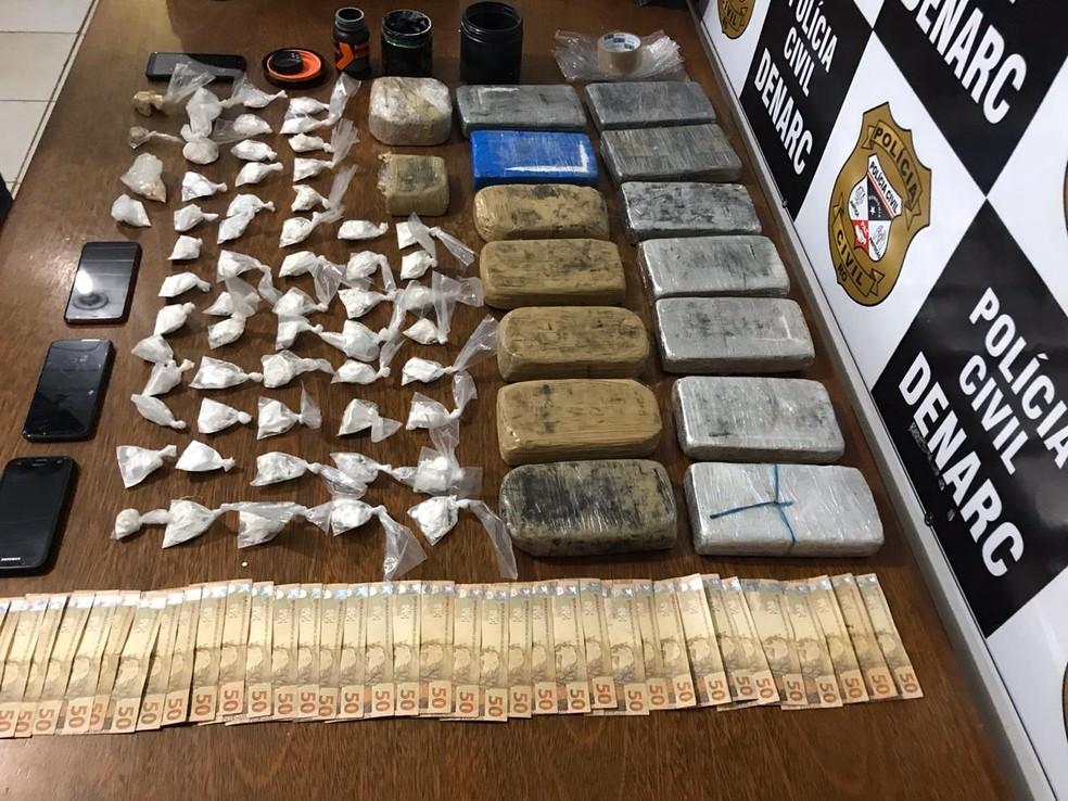 Droga e dinheiro apreendidos na Operação Norte — Foto: Divulgação/Polícia Civil