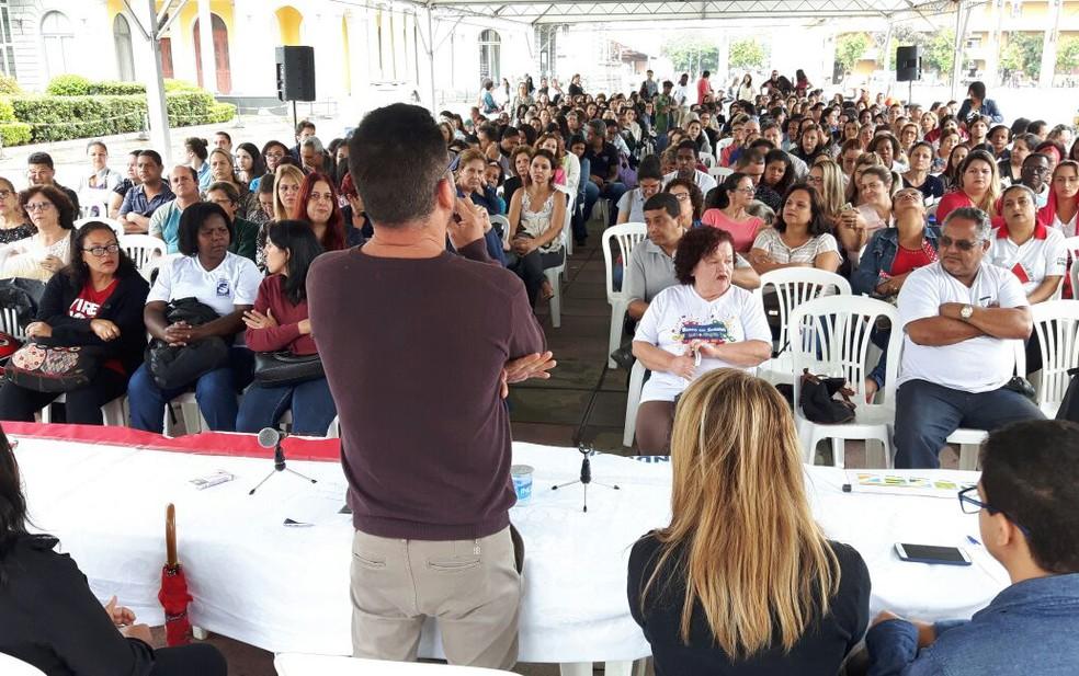 Servidores municipais de BH fizeram assembleia e paralisação. (Foto: Sindibel/Divulgação)