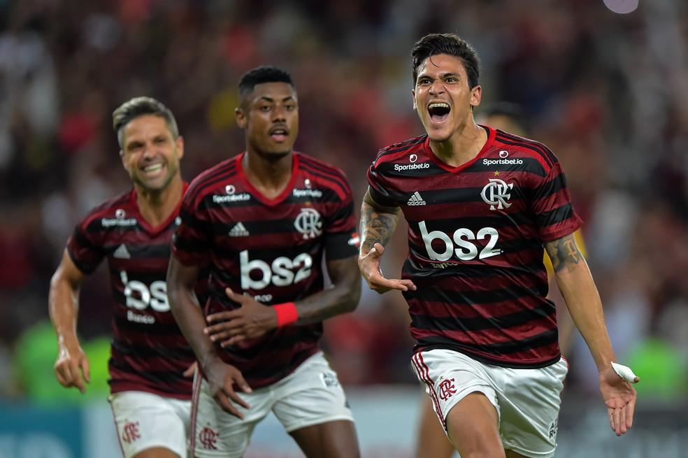 Pedro comemora gol do Fla contra Madureira — Foto: André Durão