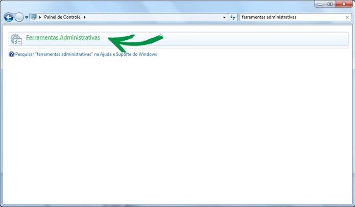 Destaque para link das ferramentas administrativas do Windows (Foto: Reprodução/Raquel Freire)