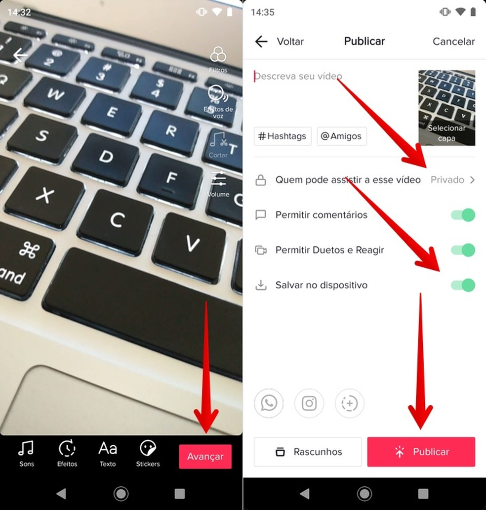 Como cortar vídeo no TikTok? Para começar, salve o clipe na galeria do celular — Foto: Reprodução/Helito Beggiora