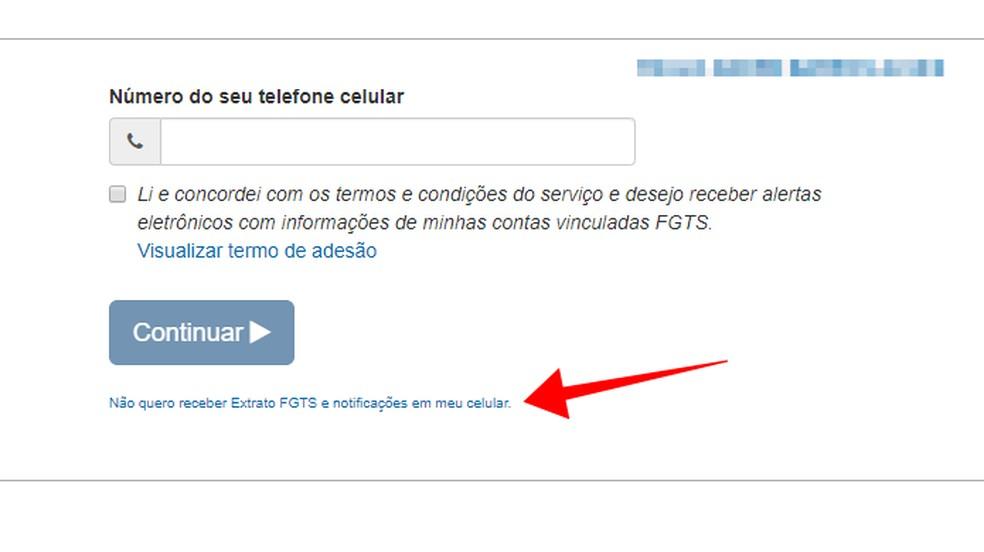Clique no link para cancelar o envio de alertas do FGTS para o celular — Foto: Reprodução/Paulo Alves
