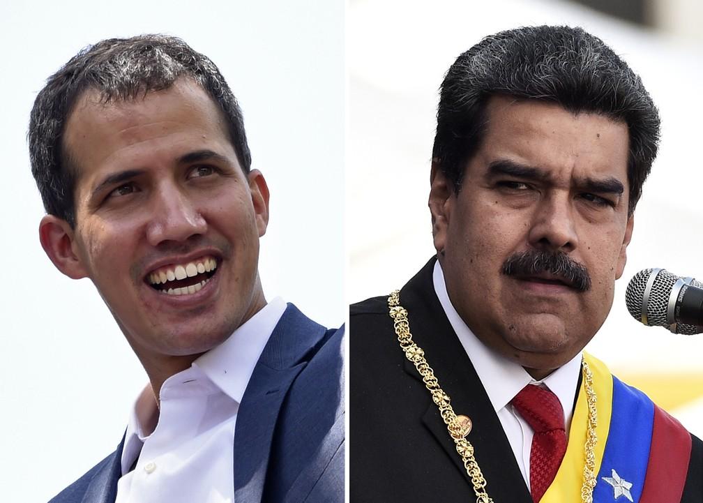 Montagem com imagens de Juan Guaidó e Nicolás Maduro, que vão ter encontros com Bachelet — Foto: STF / AFP