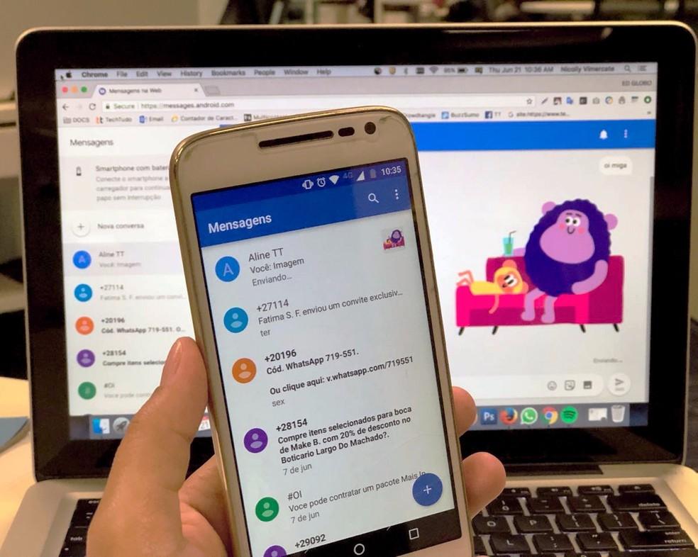 Aprenda a usar o Android Mensagens na web pelo PC (Foto: Nicolly Vimercate/TechTudo)