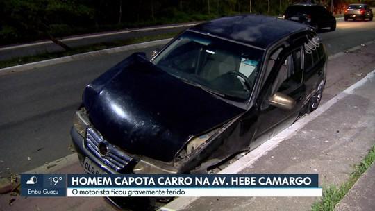 Motorista passa mal e capota em avenida da região do Morumbi