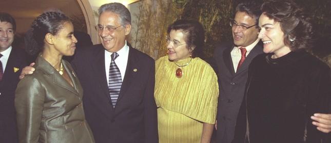 Marina, FH e Dona Ruth em jantar no Rio, em 2002