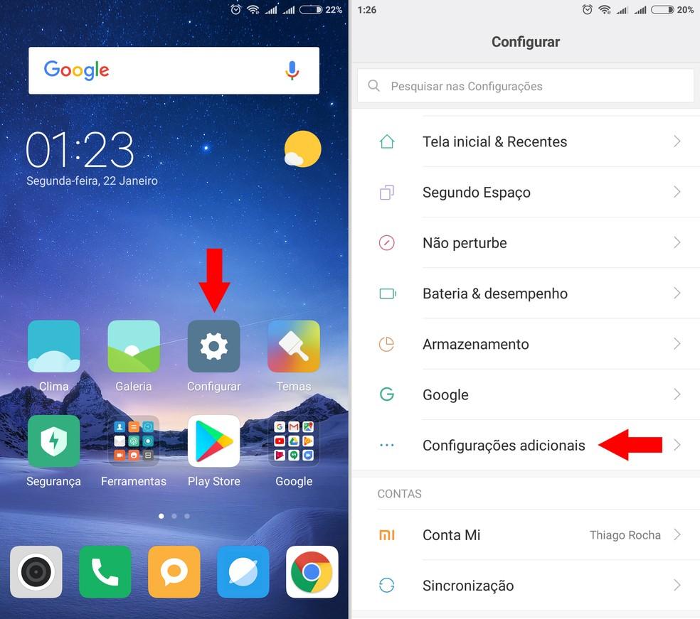 Acessando as configurações do celular Xiaomi — Foto: Reprodução/Thiago Rocha