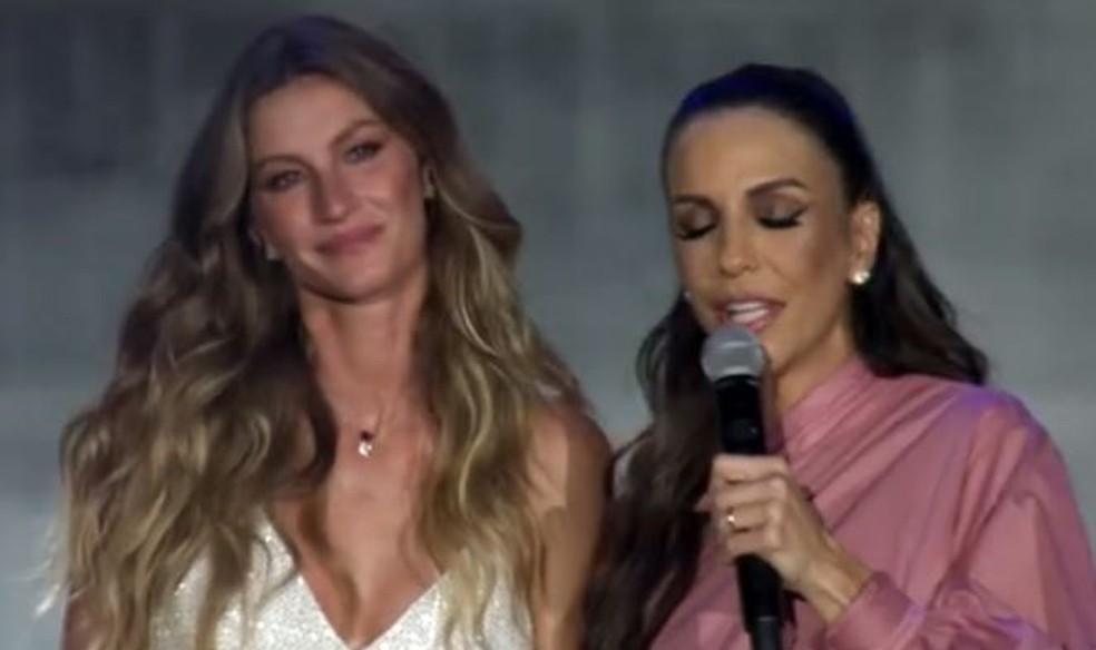 Gisele Bündchen e Ivete Sangalo no Rock in Rio (Foto: Reprodução Multishow)
