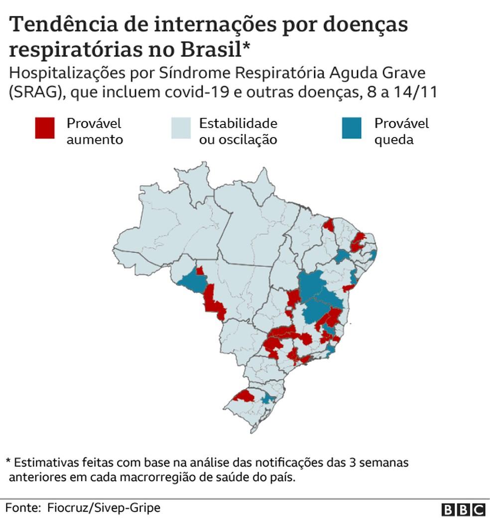 MAPA BBC - Tendência de internações por doenças respiratórios no Brasil — Foto: CECILIA TOMBESI/BBC