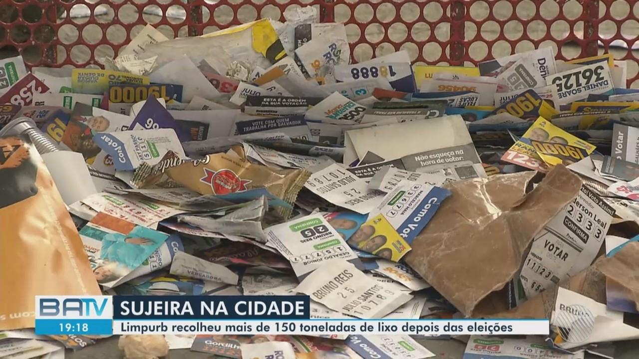 Mais de 150 toneladas de lixo foram recolhidas após domingo de eleições, em Salvador