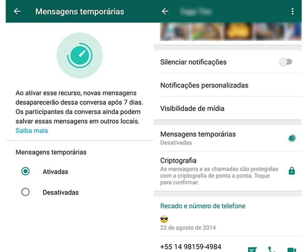 Ative as mensagens temporárias do WhatsApp em apenas dois toques — Foto: Reprodução/Marcela Franco