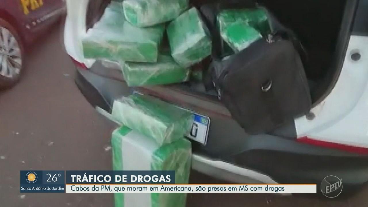 Dupla de policiais militares de Cosmópolis é presa com 107 kg de maconha em MS